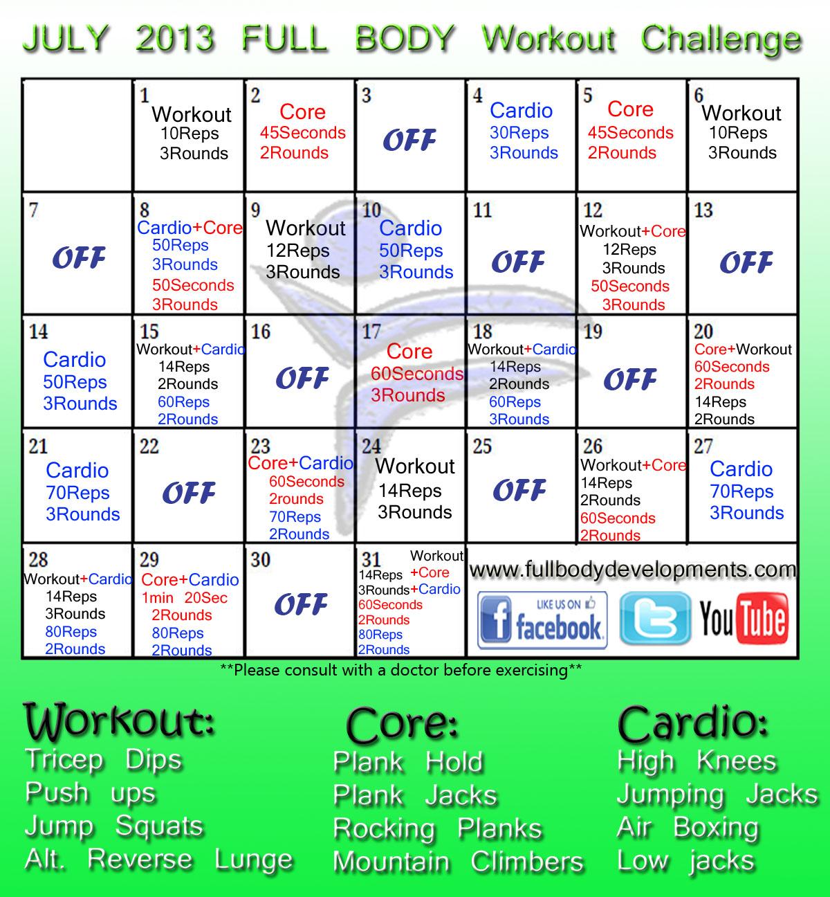 Fbd July Challenge Full Body Workout Challenge Full Body Developments Personal Training